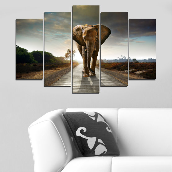 Canvas prints & wall decorative panels - 5 pieces №0038 » Brown, Black, Gray, Dark grey » Animal, Road, Elephant Form #1