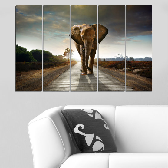 Canvas prints & wall decorative panels - 5 pieces №0038 » Brown, Black, Gray, Dark grey » Animal, Road, Elephant Form #2