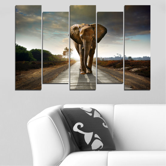 Canvas prints & wall decorative panels - 5 pieces №0038 » Brown, Black, Gray, Dark grey » Animal, Road, Elephant Form #3