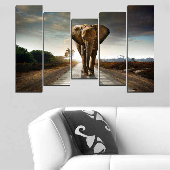 Canvas prints & wall decorative panels - 5 pieces №0038 » Brown, Black, Gray, Dark grey » Animal, Road, Elephant Form #4
