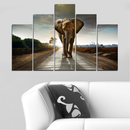 Canvas prints & wall decorative panels - 5 pieces №0038 » Brown, Black, Gray, Dark grey » Animal, Road, Elephant Form #5