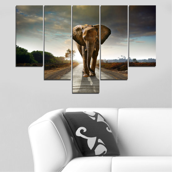 Canvas prints & wall decorative panels - 5 pieces №0038 » Brown, Black, Gray, Dark grey » Animal, Road, Elephant Form #6