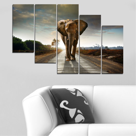 Canvas prints & wall decorative panels - 5 pieces №0038 » Brown, Black, Gray, Dark grey » Animal, Road, Elephant Form #7