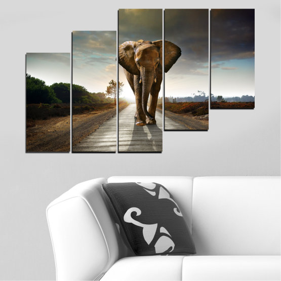 Canvas prints & wall decorative panels - 5 pieces №0038 » Brown, Black, Gray, Dark grey » Animal, Road, Elephant Form #8