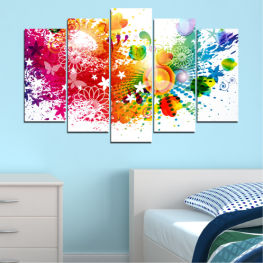 Abstraction, Flowers, Butterfly, Colorful » Red, Yellow, Orange, White