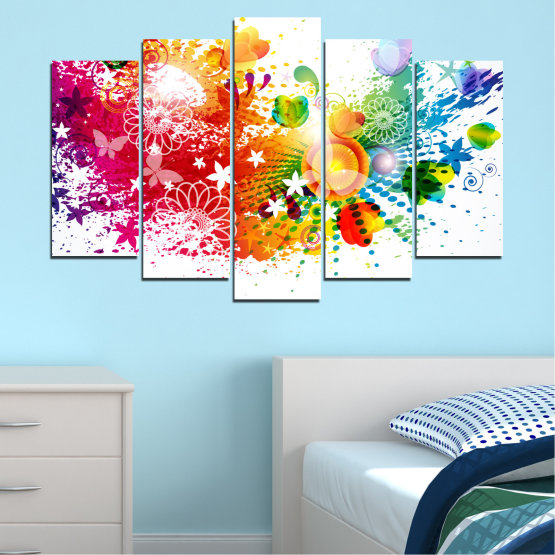 Canvas prints & wall decorative panels - 5 pieces №0381 » Red, Yellow, Orange, White » Flowers, Abstraction, Butterfly, Colorful Form #1
