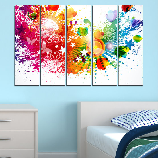 Canvas prints & wall decorative panels - 5 pieces №0381 » Red, Yellow, Orange, White » Flowers, Abstraction, Butterfly, Colorful Form #2