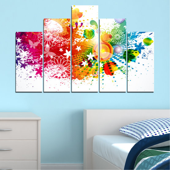 Canvas prints & wall decorative panels - 5 pieces №0381 » Red, Yellow, Orange, White » Flowers, Abstraction, Butterfly, Colorful Form #5
