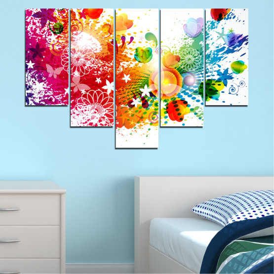 Canvas prints & wall decorative panels - 5 pieces №0381 » Red, Yellow, Orange, White » Flowers, Abstraction, Butterfly, Colorful Form #6