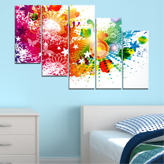 Canvas prints & wall decorative panels - 5 pieces №0381 » Red, Yellow, Orange, White » Flowers, Abstraction, Butterfly, Colorful Form #7