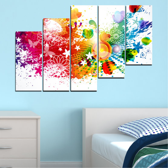 Canvas prints & wall decorative panels - 5 pieces №0381 » Red, Yellow, Orange, White » Flowers, Abstraction, Butterfly, Colorful Form #8
