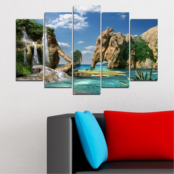 Canvas prints & wall decorative panels - 5 pieces №0382 » Blue, Turquoise, Black, Gray, Dark grey » Landscape, Waterfall, Sea, Collage, Water, Bay, Rocks, Elephant Form #1