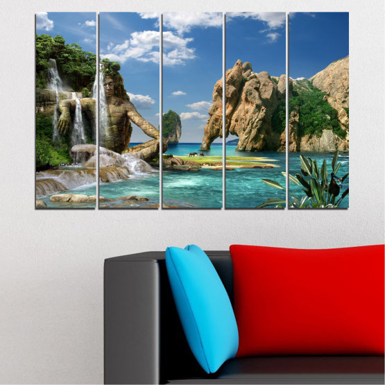 Canvas prints & wall decorative panels - 5 pieces №0382 » Blue, Turquoise, Black, Gray, Dark grey » Landscape, Waterfall, Sea, Collage, Water, Bay, Rocks, Elephant Form #2