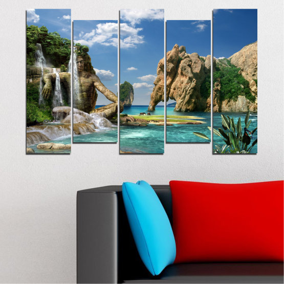 Canvas prints & wall decorative panels - 5 pieces №0382 » Blue, Turquoise, Black, Gray, Dark grey » Landscape, Waterfall, Sea, Collage, Water, Bay, Rocks, Elephant Form #3