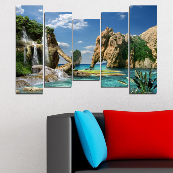 Canvas prints & wall decorative panels - 5 pieces №0382 » Blue, Turquoise, Black, Gray, Dark grey » Landscape, Waterfall, Sea, Collage, Water, Bay, Rocks, Elephant Form #4