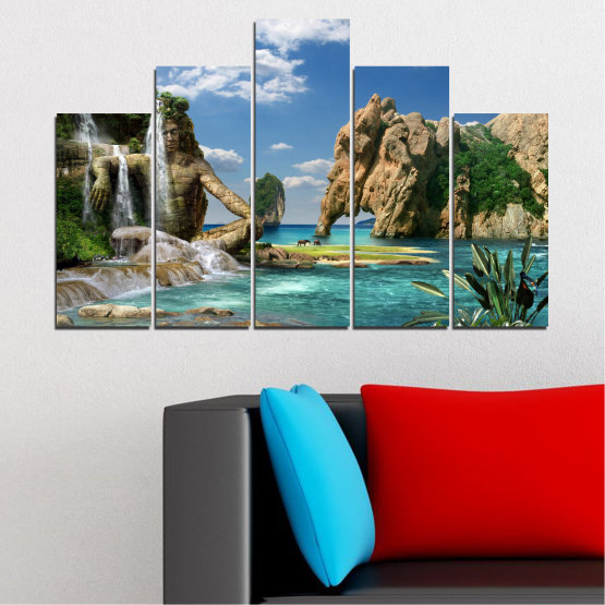 Canvas prints & wall decorative panels - 5 pieces №0382 » Blue, Turquoise, Black, Gray, Dark grey » Landscape, Waterfall, Sea, Collage, Water, Bay, Rocks, Elephant Form #5