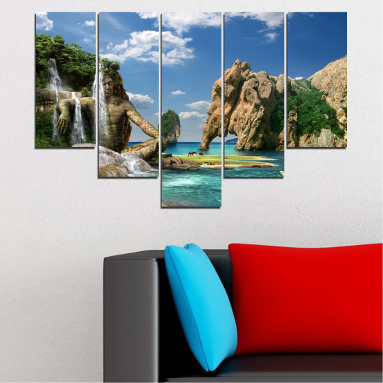 Canvas prints & wall decorative panels - 5 pieces №0382 » Blue, Turquoise, Black, Gray, Dark grey » Landscape, Waterfall, Sea, Collage, Water, Bay, Rocks, Elephant Form #6