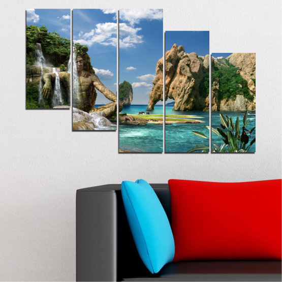 Canvas prints & wall decorative panels - 5 pieces №0382 » Blue, Turquoise, Black, Gray, Dark grey » Landscape, Waterfall, Sea, Collage, Water, Bay, Rocks, Elephant Form #7