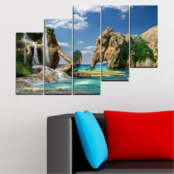 Canvas prints & wall decorative panels - 5 pieces №0382 » Blue, Turquoise, Black, Gray, Dark grey » Landscape, Waterfall, Sea, Collage, Water, Bay, Rocks, Elephant Form #8