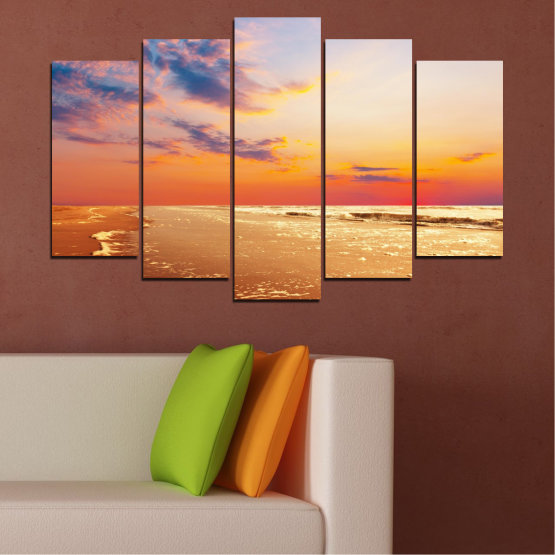Canvas prints & wall decorative panels - 5 pieces №0383 » Yellow, Orange, Gray, Beige » Landscape, Water, Sea, Sunset, Beach, Seaside Form #1