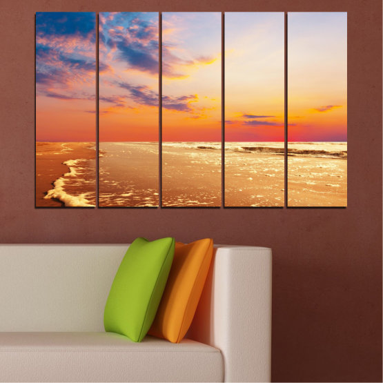 Canvas prints & wall decorative panels - 5 pieces №0383 » Yellow, Orange, Gray, Beige » Landscape, Water, Sea, Sunset, Beach, Seaside Form #2