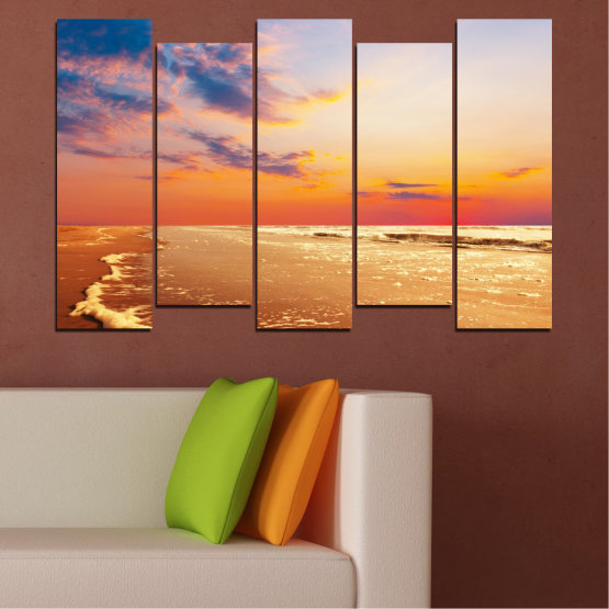 Canvas prints & wall decorative panels - 5 pieces №0383 » Yellow, Orange, Gray, Beige » Landscape, Water, Sea, Sunset, Beach, Seaside Form #3