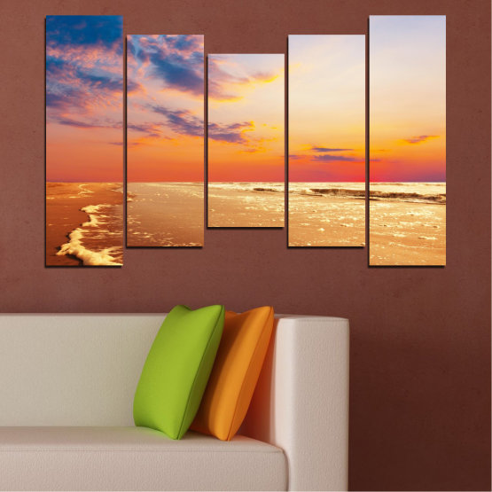Canvas prints & wall decorative panels - 5 pieces №0383 » Yellow, Orange, Gray, Beige » Landscape, Water, Sea, Sunset, Beach, Seaside Form #4