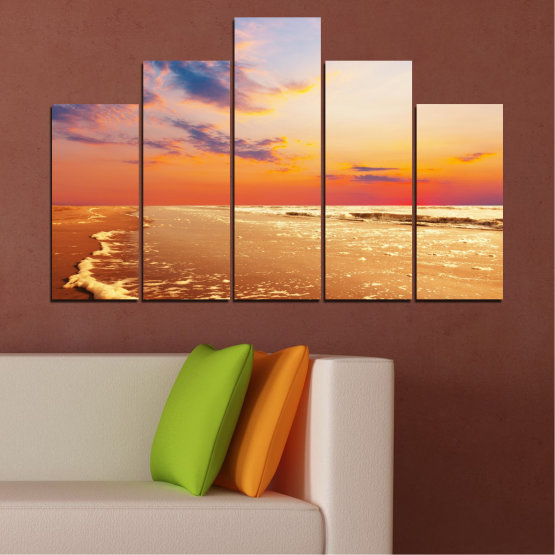 Canvas prints & wall decorative panels - 5 pieces №0383 » Yellow, Orange, Gray, Beige » Landscape, Water, Sea, Sunset, Beach, Seaside Form #5