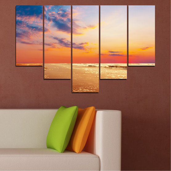 Canvas prints & wall decorative panels - 5 pieces №0383 » Yellow, Orange, Gray, Beige » Landscape, Water, Sea, Sunset, Beach, Seaside Form #6