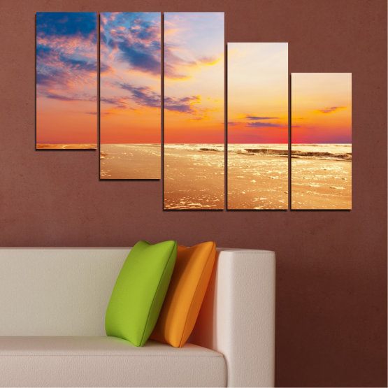 Canvas prints & wall decorative panels - 5 pieces №0383 » Yellow, Orange, Gray, Beige » Landscape, Water, Sea, Sunset, Beach, Seaside Form #7
