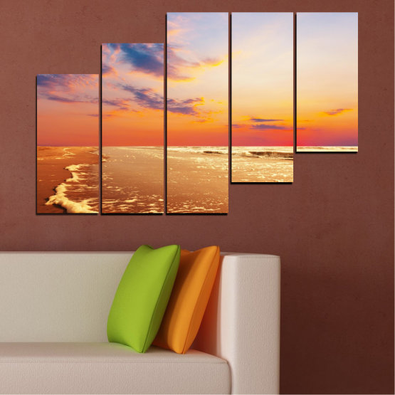 Canvas prints & wall decorative panels - 5 pieces №0383 » Yellow, Orange, Gray, Beige » Landscape, Water, Sea, Sunset, Beach, Seaside Form #8