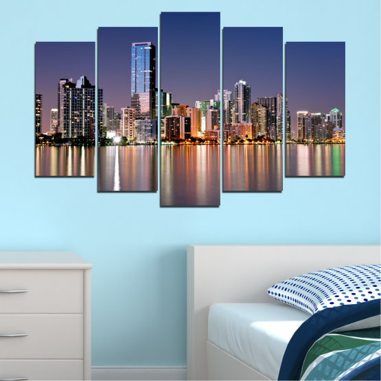 Canvas prints & wall decorative panels - 5 pieces №0384 » Purple, Blue, Brown, Gray, Dark grey » Water, City, Lights, Night, Miami, Skyscraper, Usa Form #1