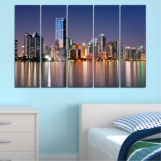 Canvas prints & wall decorative panels - 5 pieces №0384 » Purple, Blue, Brown, Gray, Dark grey » Water, City, Lights, Night, Miami, Skyscraper, Usa Form #2