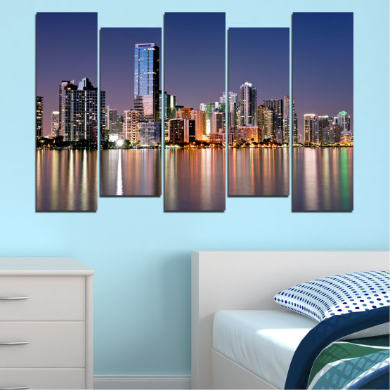 Canvas prints & wall decorative panels - 5 pieces №0384 » Purple, Blue, Brown, Gray, Dark grey » Water, City, Lights, Night, Miami, Skyscraper, Usa Form #3
