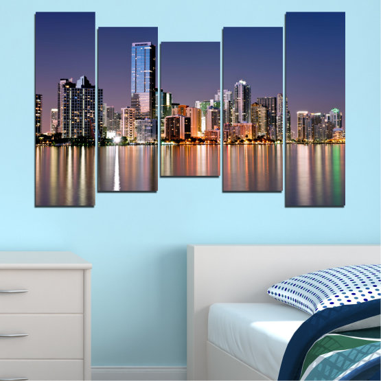 Canvas prints & wall decorative panels - 5 pieces №0384 » Purple, Blue, Brown, Gray, Dark grey » Water, City, Lights, Night, Miami, Skyscraper, Usa Form #4
