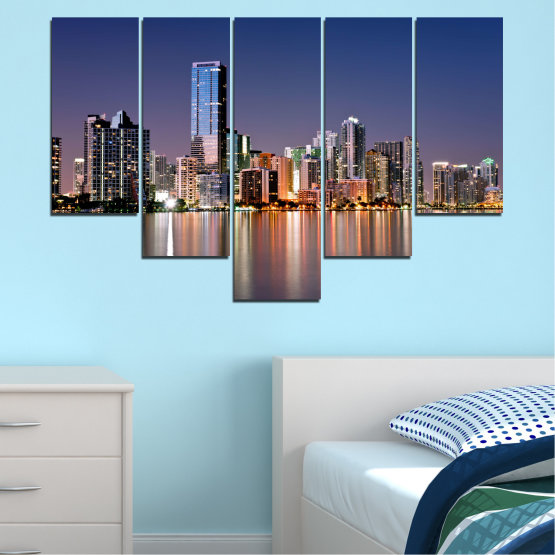 Canvas prints & wall decorative panels - 5 pieces №0384 » Purple, Blue, Brown, Gray, Dark grey » Water, City, Lights, Night, Miami, Skyscraper, Usa Form #6