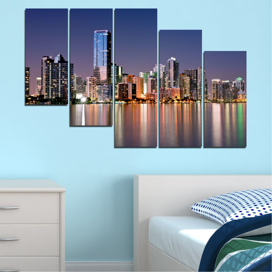 Canvas prints & wall decorative panels - 5 pieces №0384 » Purple, Blue, Brown, Gray, Dark grey » Water, City, Lights, Night, Miami, Skyscraper, Usa Form #7