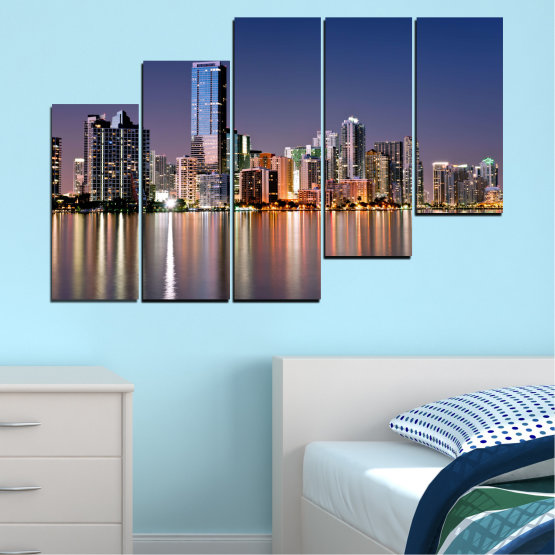 Canvas prints & wall decorative panels - 5 pieces №0384 » Purple, Blue, Brown, Gray, Dark grey » Water, City, Lights, Night, Miami, Skyscraper, Usa Form #8