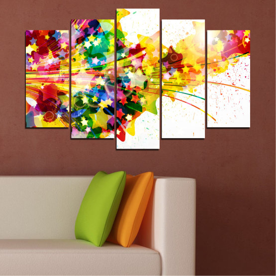 Canvas prints & wall decorative panels - 5 pieces №0385 » Red, Yellow, White, Beige » Abstraction, Star, Colorful Form #1