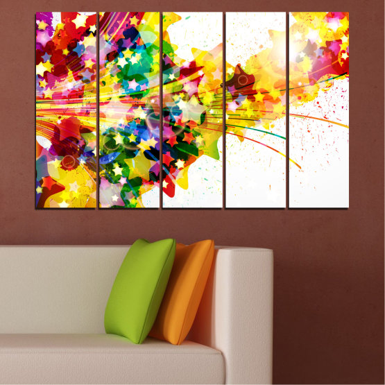 Canvas prints & wall decorative panels - 5 pieces №0385 » Red, Yellow, White, Beige » Abstraction, Star, Colorful Form #2
