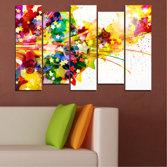 Canvas prints & wall decorative panels - 5 pieces №0385 » Red, Yellow, White, Beige » Abstraction, Star, Colorful Form #3