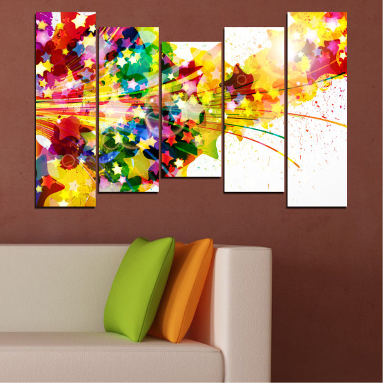 Canvas prints & wall decorative panels - 5 pieces №0385 » Red, Yellow, White, Beige » Abstraction, Star, Colorful Form #4
