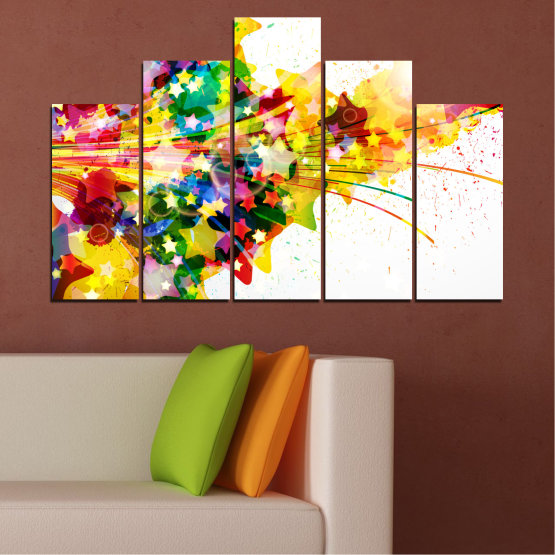 Canvas prints & wall decorative panels - 5 pieces №0385 » Red, Yellow, White, Beige » Abstraction, Star, Colorful Form #5