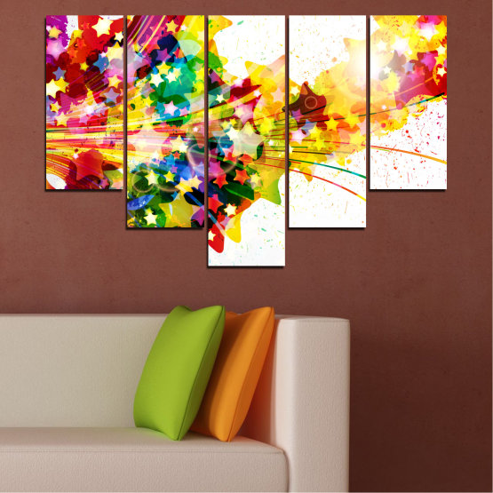 Canvas prints & wall decorative panels - 5 pieces №0385 » Red, Yellow, White, Beige » Abstraction, Star, Colorful Form #6