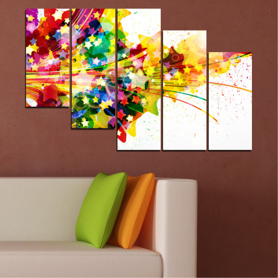 Canvas prints & wall decorative panels - 5 pieces №0385 » Red, Yellow, White, Beige » Abstraction, Star, Colorful Form #7