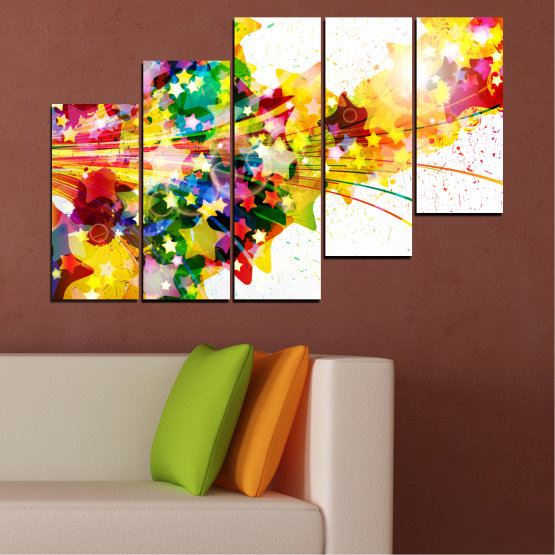 Canvas prints & wall decorative panels - 5 pieces №0385 » Red, Yellow, White, Beige » Abstraction, Star, Colorful Form #8