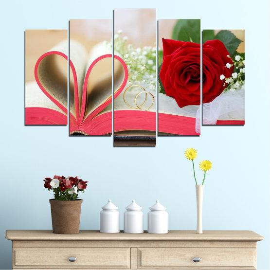 Декоративни панели и картини от канава - от 5 части №0386 » Розов, Сив, Бежов, Тъмно сив » Цветя, Роза, Сватба, Пръстен, Книга Form #1