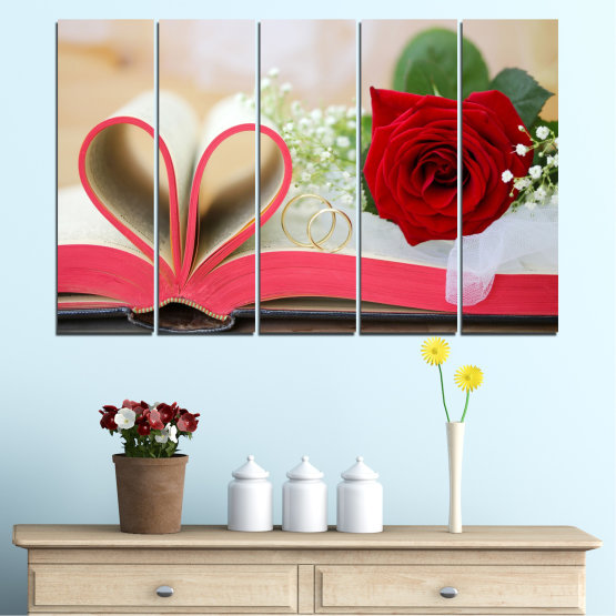 Декоративни панели и картини от канава - от 5 части №0386 » Розов, Сив, Бежов, Тъмно сив » Цветя, Роза, Сватба, Пръстен, Книга Form #2