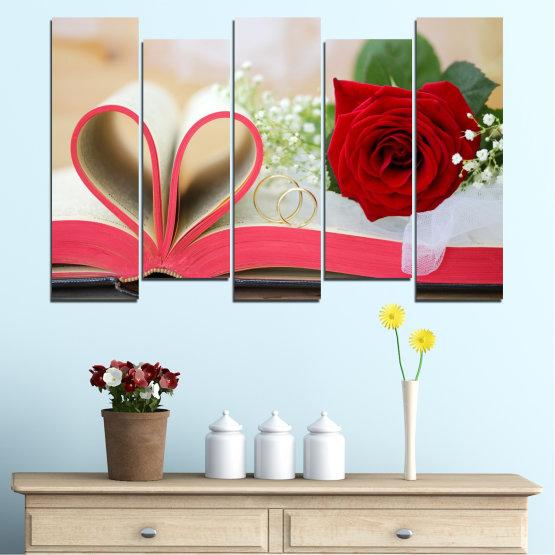 Декоративни панели и картини от канава - от 5 части №0386 » Розов, Сив, Бежов, Тъмно сив » Цветя, Роза, Сватба, Пръстен, Книга Form #3