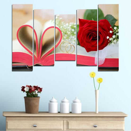Декоративни панели и картини от канава - от 5 части №0386 » Розов, Сив, Бежов, Тъмно сив » Цветя, Роза, Сватба, Пръстен, Книга Form #4
